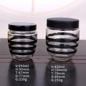 200ml 380ml round glass honey jar with plastic /metal lid
