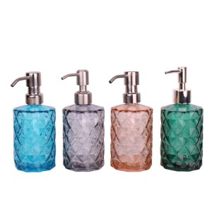 color glass diamond embossed soap liquid bottle dispenser 350ml