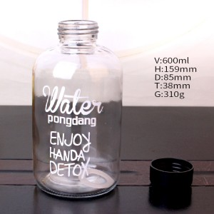Wholesale Price Colorful Letter Glass Water Bottle With Cloth Cover Frosted Portable Bottle Glass