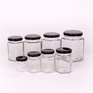 wholesale factory price hexagon honey jar glass jars with lid