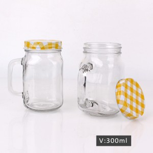 900ml clear glass milk bottle and mason jar set