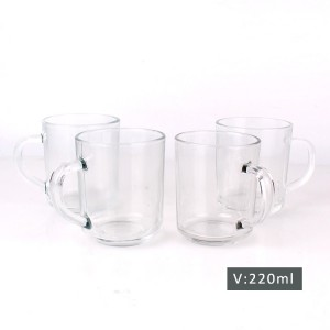 30oz Square glass milk bottle with glass cup set wholesale