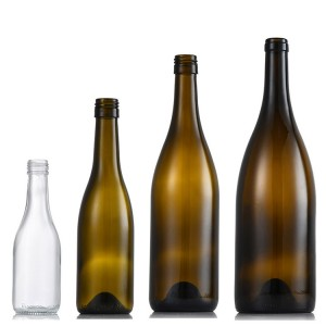 supply empty clear brown green 187ml 375ml 750ml 1500ml Burgundy glass wine bottle with lid