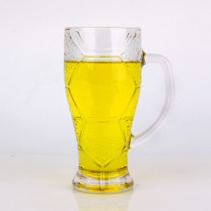 Funny design football design glass cups for drinking beer 620ml 420ml