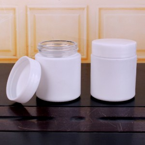100ml White coating cylinder glass jar with plastic lid