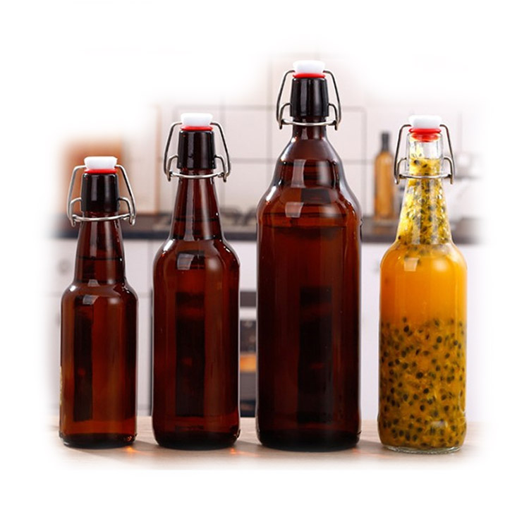 wholesale reusable 350ml 500ml 1000ml amber Swing Top Flip Top Glass oil wine beer juicer drinking Bottles