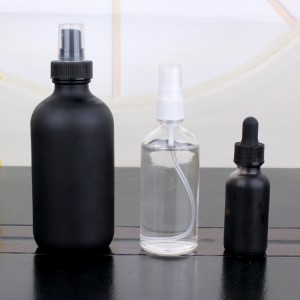 1oz factory supply black boston essential oil glass bottles with dropper
