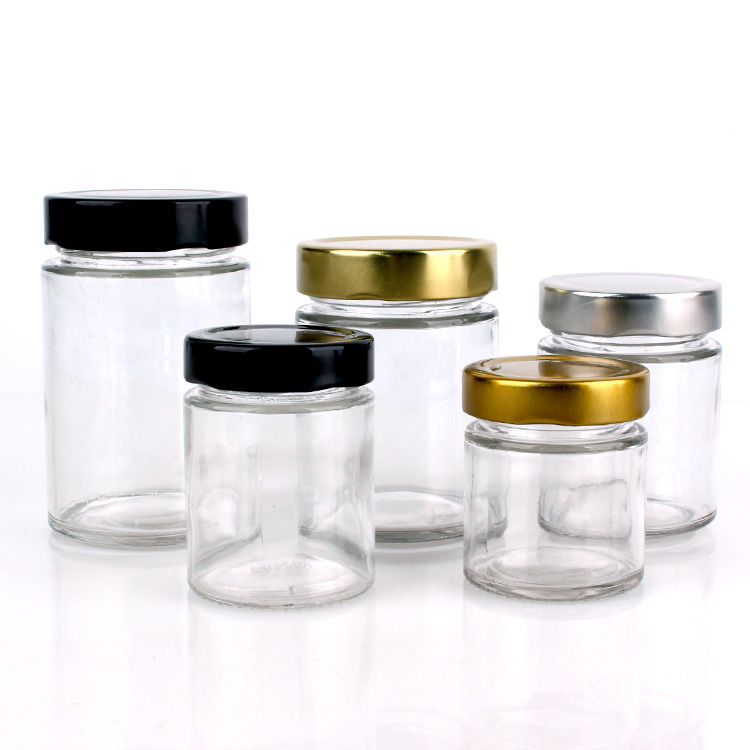 Wholesale wide mouth round clear glass  jar for storage with metal lid
