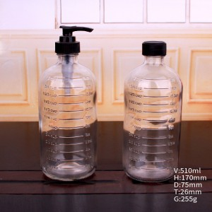 500ml foam handwashing liquid soap glass bottle dispenser with pump