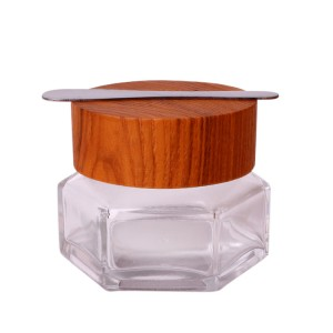 High end crystal 50g face cream cosmetic glass jar with bamboo lid