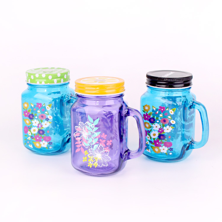 wholesale different color 16oz 500ml glass mason jar with lid and straw handle for drinking water juice cold beverage for sale