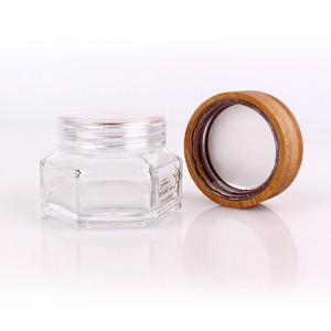 chinese factory 50ml skincare glass jar with bamboo lid