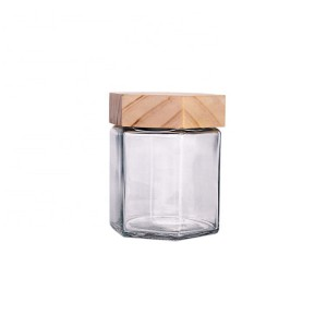 custom made 380ml hexagon glass honey food jars with wood lid