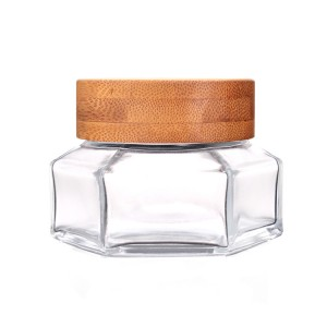 50ml 100ml chinese factory skincare glass jar with bamboo lid