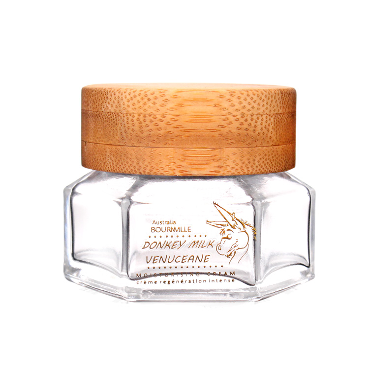 chinese factory 50ml skincare glass jar with bamboo lid Featured Image