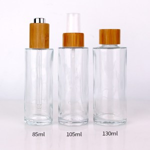 105ml personal care essential oil glass bottle with bamboo lid dropper