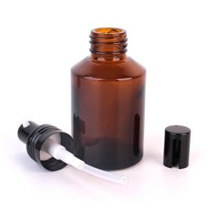 60ml cosmetic packaging amber lotion glass bottle with pump sprayer