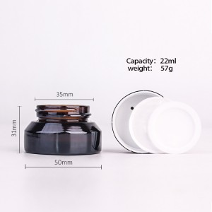 22ml  amber glass cream empty cosmetic containers with lid