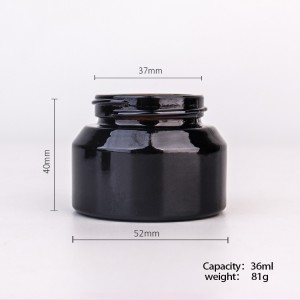 36ml  amber glass cream empty cosmetic containers with lid