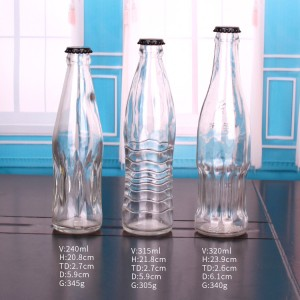 330ml empty clear glass beer bottle with crown cap