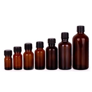 Amber color 10ml 30ml 50ml essential oil packaging bottle glass bottle with plastic dropper