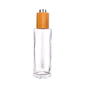 75ml personal care essential oil glass bottle with bamboo lid dropper