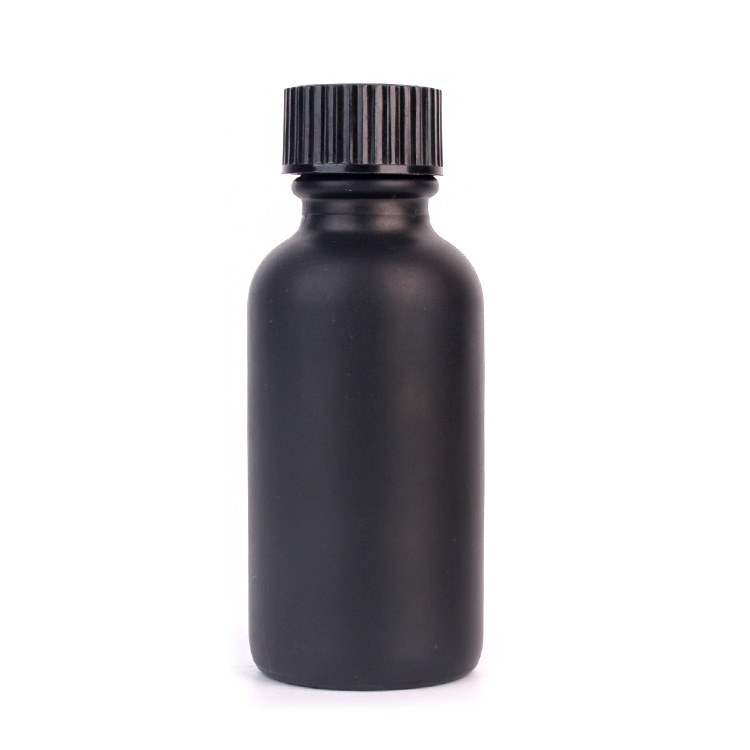 Fashion 30ml matte black glass bottles for essential oils with screw lid Featured Image