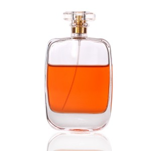 new design 120ml Flat round shape glass perfume bottle