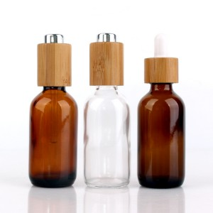 round 50ml clear/amber essential oil glass bottle with wood lid dropper