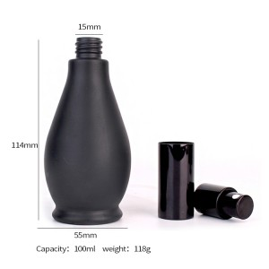 100ml Customized unique black glass perfume bottle with dropper