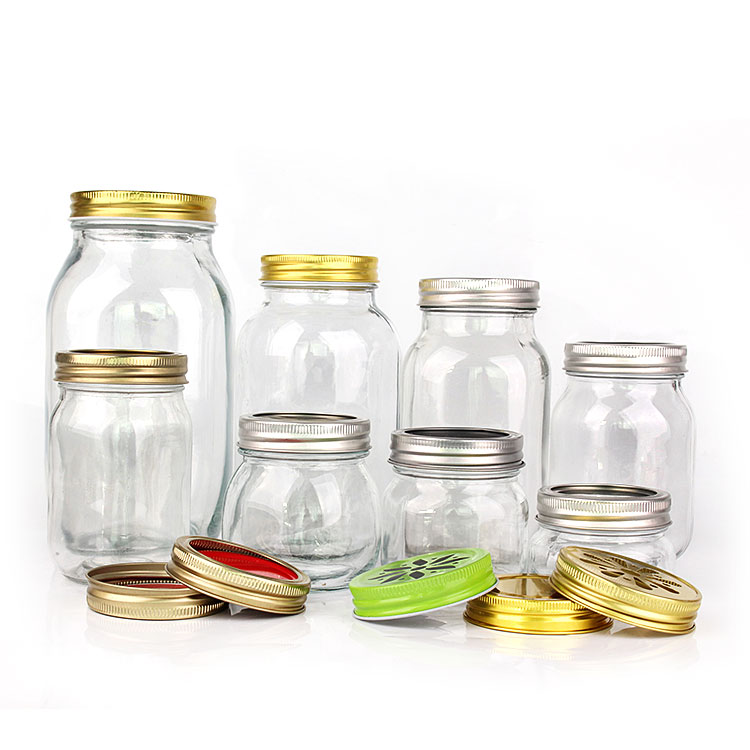 Square round clear 5oz 8oz 12oz 16oz 25oz 32oz 1500ml airtight wide mouth glass mason jar canning storage jar with split type metal lid