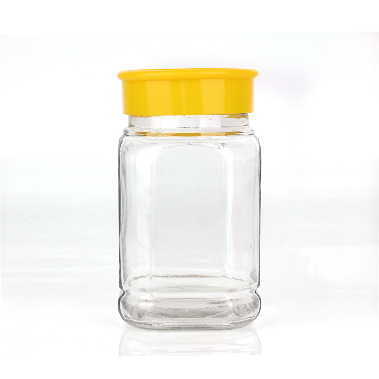 380ml empty airtight clear glass bee honey storage jar with plastic lid