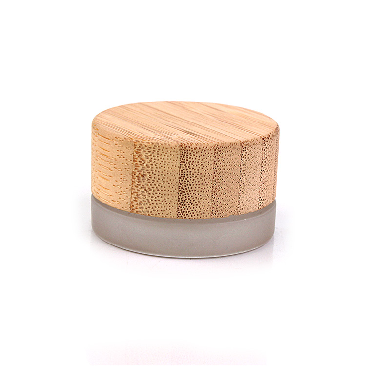 eco friendly 7ml mini round eye cream frosted glass cosmetic jar with bamboo wooden lid