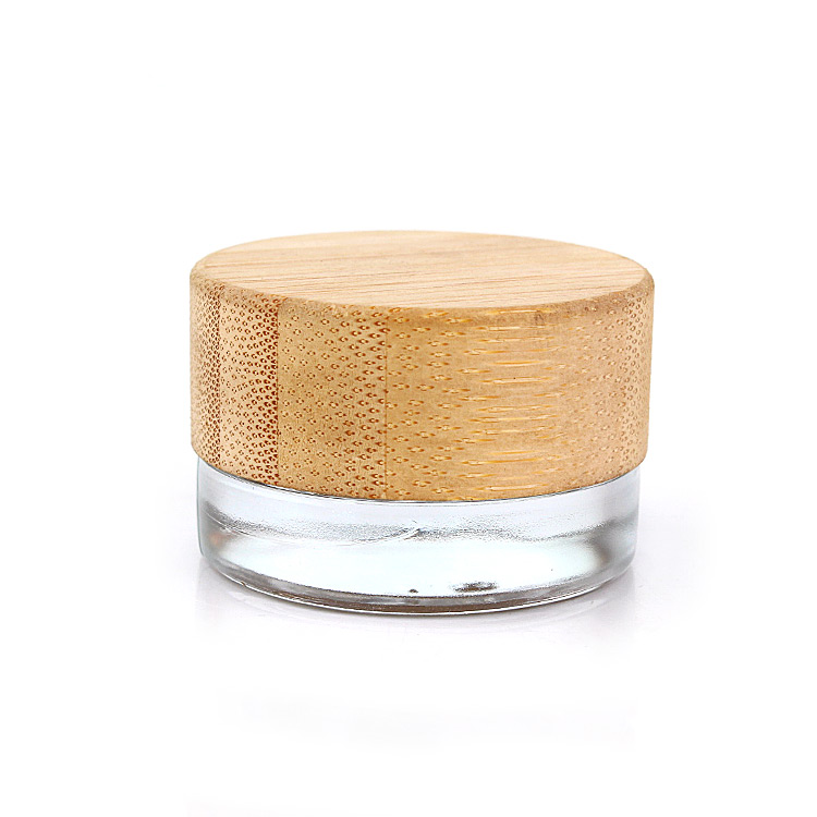 Wholesale Customized clear mini 7ml 7g Eye Cream Glass cosmetic Jar with bamboo wooden lid