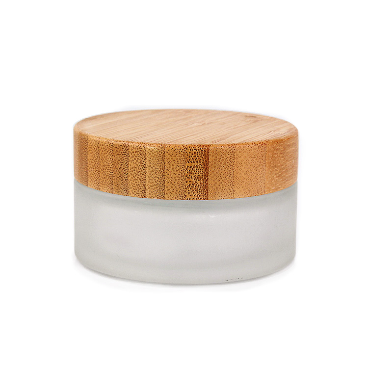 Cosmetic Packaging 100ml frosted glass cosmetic cream jar with bamboo wooden lid