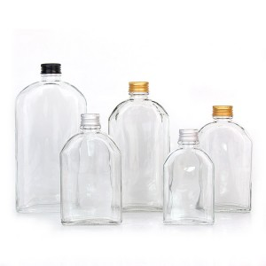 Factory sale empty 100ml 200ml 250ml 350ml 500ml flat clear glass bottle for juice cold press coffee liquor with Aluminum lids