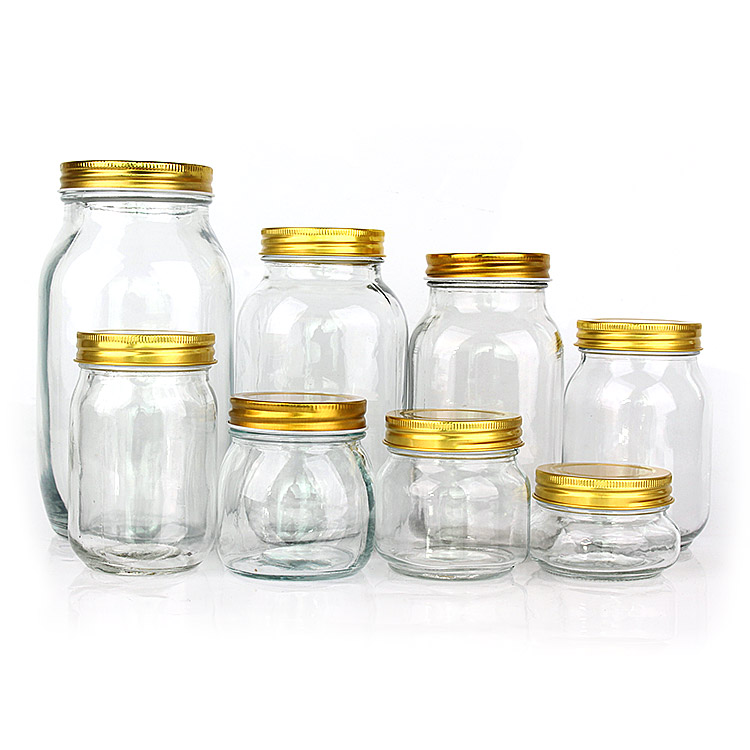 China Factory 150ml 250ml 300ml 750ml 1000ml 1500ml food storage glass mason jars in bulk with golden metal lid