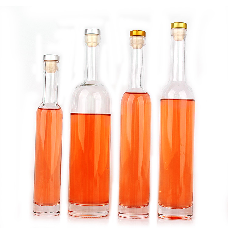 Custom long neck clear 200ml 375ml 500ml 750ml glass wine bottle with for liquor vodka whiskey gin