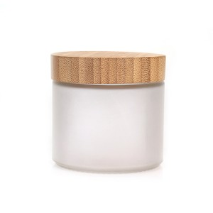 Custom High Quality 14oz 420ml round frosted glass storage spice jar with bamboo wooden lid