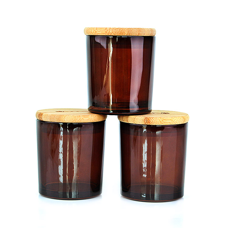 High quality empty 200ml Amber Heat Resistant Glass Candle Jar for candle making with bamboo lid