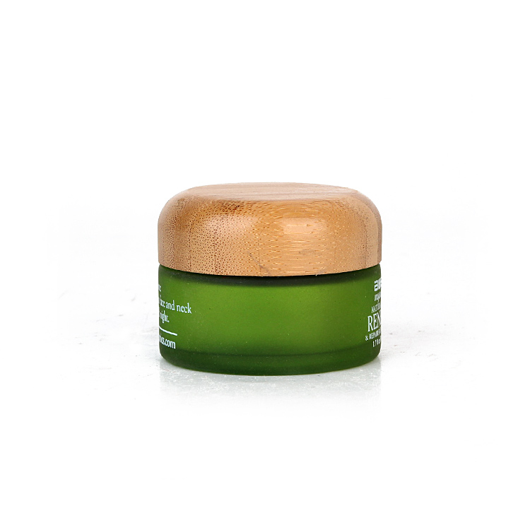 Luxury 50ml cosmetic packaging frosted green glass cosmetic cream jars container with bamboo lids