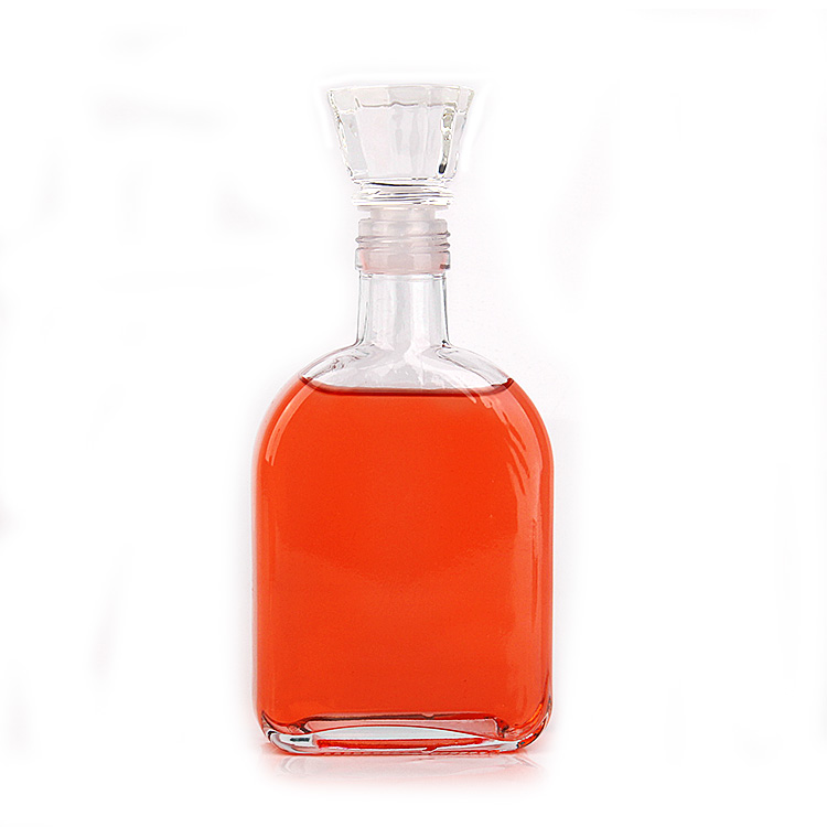 350ml Empty Clear Glass Flint Flat Wine Bottle for brandy Rum Liquor