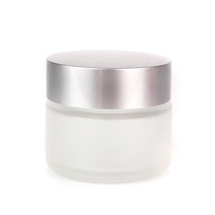Hot sale empty round 4oz 120ml frosted glass cosmetic cream jar with sliver lid