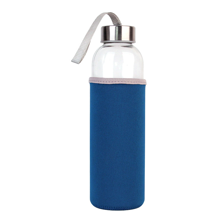 Glass Water Bottle 500ml for Beverages and Juicer Use Stainless Steel Leak Proof Caps