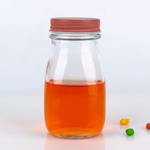 8oz 240ml Round glass juice bottle with metal cap