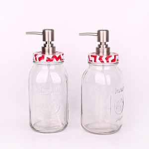 890ml High quality Clear Liquid Soap Dispenser glass bottle with Pump