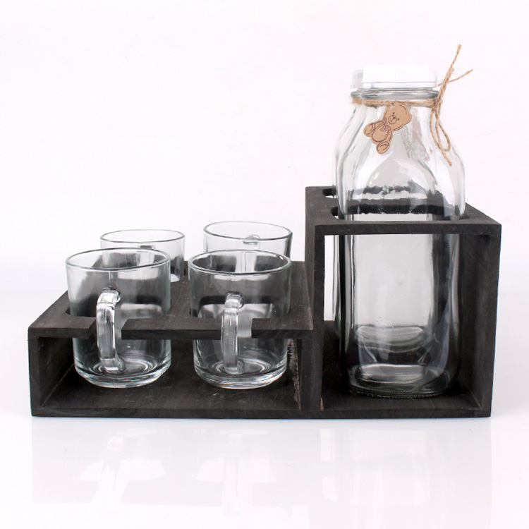 30oz Square glass milk bottle with glass cup set wholesale Featured Image