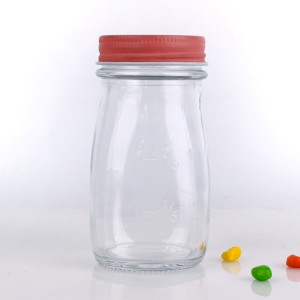 8oz clear glass milk yogurt bottle with metal cap