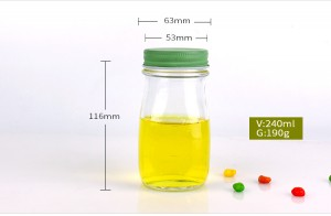 8oz clear glass milk bottle with metal cap