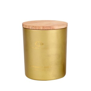 Custom gold round glass candle jar with lid